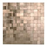Decopus Metal Tile Backsplash Peel and Stick (Square Mosaic MS25 Copper Gold, 5pc/Pack) for Kitchen Backsplash, Bathroom Wall Accents, Table Tops, 12''x 12'', 4mm Stick On Metal Mosaic Tile