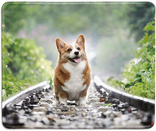 dealzEpic - Art Mousepad - Natural Rubber Mouse Pad Printed with Corgi Dog Running on The Railroad - Stitched Edges - 9.5x7.9 inches