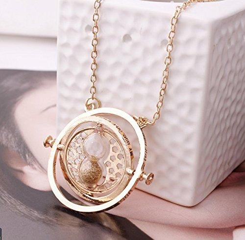 Lemonc Harry Potter Gold Plated Time Turner Necklace, Pendant Necklace, Hermione Necklace+Gift Bag