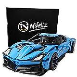 Nifeliz Racing Car Corvet MOC Building Blocks and Engineering Toy, Adult Collectible Model Cars Set to Build, 1:8 Scale Blue Race Car Model (2700 Pcs)