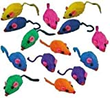PetEdge 10 Rainbow Mice Cat Toys with Real Rabbit Fur That Rattle by Zanies (Standard Version)
