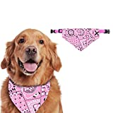 Sunshine smile Pet Plaid Bibs Scarf,Head Scarves Pet,Dog Bandanas,Christmas Dog Bandana,Neckerchief for Dog Cat,Scarf For Cats And Dogs Pets,Dog Scarf,Christmas Pet Hat Scarf Collar (M, Pink)