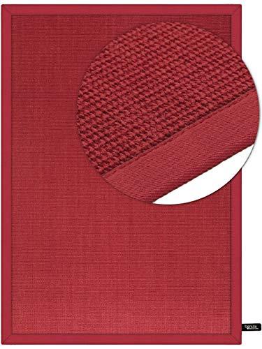benuta Sisal Teppich mit Bordüre Rot 120x180 cm | Naturfaserteppich für Flur und Wohnzimmer