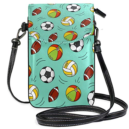 iRoad Mini-Geldbörse, Cartoon-Motiv, Fußball, Rugby, Geldbörse mit Schultergurt, Crossbody-Tasche für Damen und Mädchen
