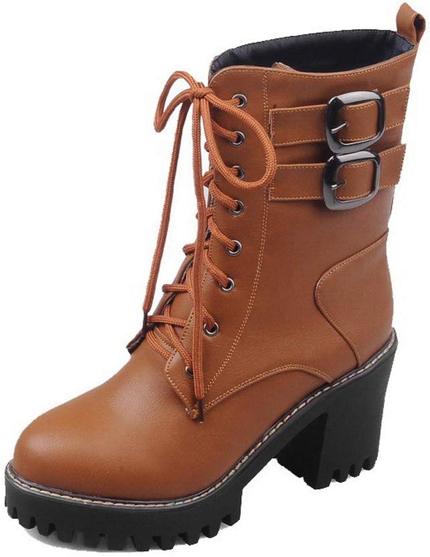Allhqmode Woherrar Pu Closed -Toe Solid low low low -Top High -klackar stövlar, FBUXD124559  grossist-