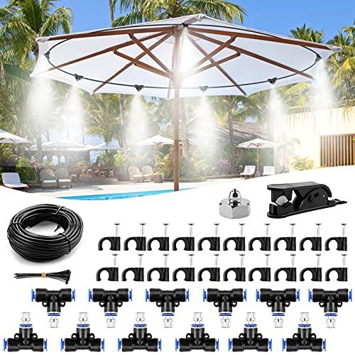 Homgif Nebulizzatore Giardino Kit di Nebulizzatore, 10M 12 Ugello Nebulizzatore Acqua Misting Cooling System, Kit Nebulizzazione Acqua per Giardino, Terrazzo, Serre, Trampolini, Gazebo
