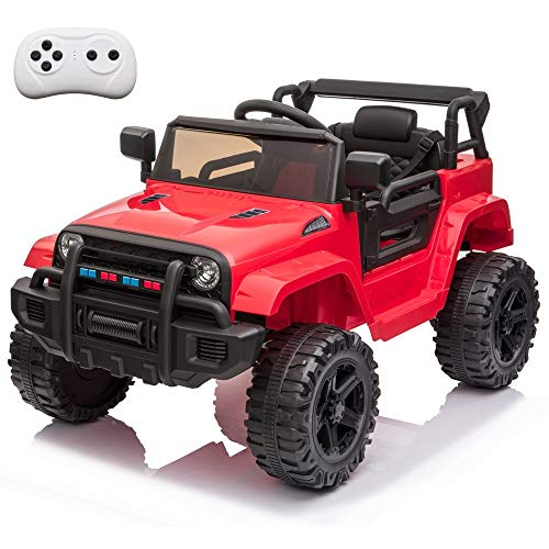VALUE BOX Kids Ride On Truck 2.4G Remote Control, Kids Electric Ride-on Car 12V Battery Motorized Vehicles Age 3-5 w/ 3 Speeds, Spring Suspension, LED Lights, Horn, Music Player, Seat Belts (Red)