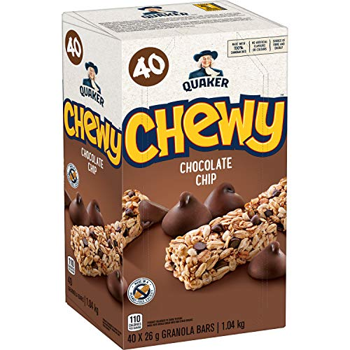 Quaker Chewy Chocolate Chip Granola Bars, Peanut Free 40-Count {Imported from Canada}