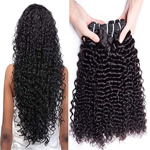 Bele Hair 8A brésilienne vierge profonde de cheveux bouclés cheveux 3 Bundles Extensions de cheveux non transformés de couleur naturelle (22 24 26)