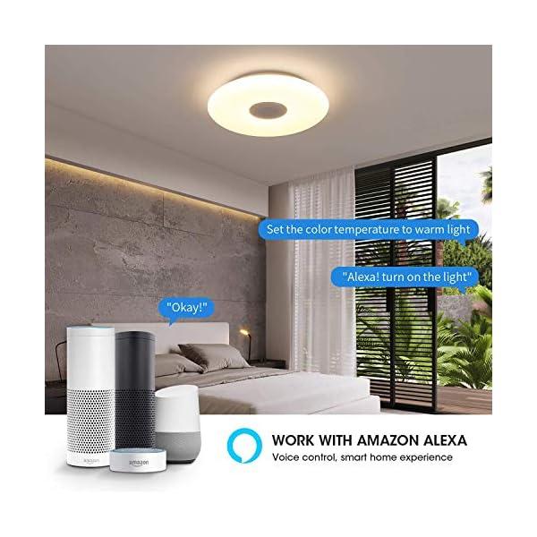 OFFDARKS Flush Mount Smart Music Led Ceiling Light with Bluetooth Speaker,Support Alexa Google Home WiFi,Energy Saving…