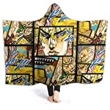 ZEGAILIAN Hooded Blanket Fleece Throw JoJo's Bizarre Dio Brando Wearable Blanket Hoodie Cloak