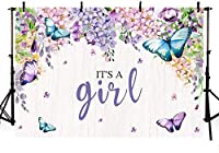 New It s A Girl Butterfly Baby Shower Party Photo Studio Booth Backgrounds Purple Floral Fairy Princess Baby Shower Spring Garden Party Photography Backdrop Banner 7x5ft