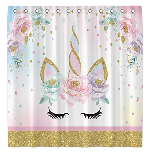 Allenjoy 72x72 Inch Cartoon Unicorn Shower Curtain for Bathroom Sets Floral Gold Glitter Home Bathtub Decors Decoration Customizable Durable Waterproof Fabric Machine Washable Curtains with 12 Hooks