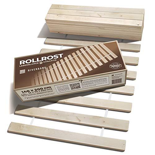 Riverbank Hochwertiger Birkenholz Rollrost Rolllattenrost mit 14 Extra Starken Latten & Hoher Tragfähigkeit | 140x200cm Lattenrost aus Massiver Birke mit hoher Tragfähigkeit | Bettrost 140 x 200