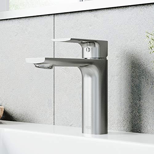 "VIGO VG01043BN 6"" H Davidson Brushed Nickel 1-Handle Single Hole Vessel WaterSense Bathroom Sink Faucet"