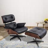 Leather Recliner with Ottoman, ToMe Mid Century Lounge Chair with Genuine Leather and Heavy Duty Aluminum Base Modern Chaise for Bedroom Living Room Lounge Office