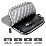 ROOFULL USB 3.0 External CD DVD Drive with Protective Storage Carrying Case Bag, Portable CD DVD +/-RW Drive Burner for Windows 10/8 / 7 Laptop Computer MacBook Pro Air Mac OS (Dark Gray)