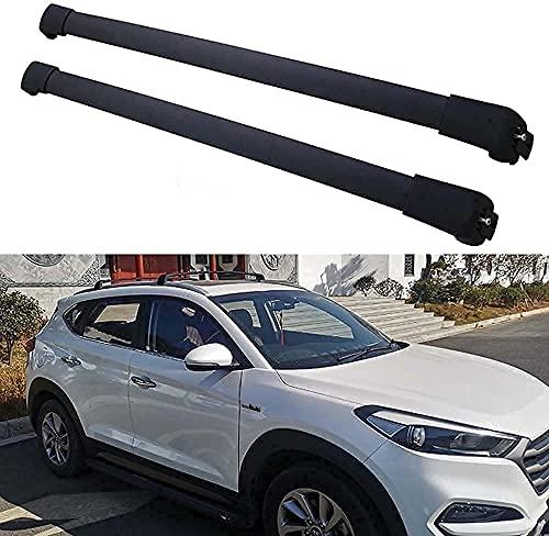 2 Piezas Coche Aluminio Bacas Travesaño para Hyundai Tucson 2015-2019, Robustos portaequipajes...