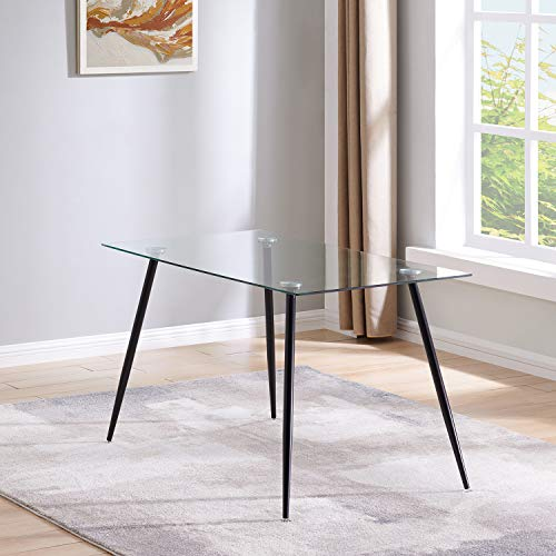 IDS Home Transparent Leisure Coffee Modern Clear Glass Dining Room Table, Home Office, Kitchen, Black Metal Leg with Foot Pad