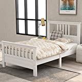 White Bed Frame Twin 400lb Heavy Duty,JULYFOX Hard Wood Platform Bed with Headboard Slatted Footboard No Box Spring Needed(White,Twin Size)