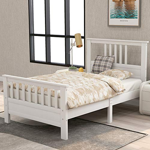 White Bed Frame Twin 400lb Heavy Duty,JULYFOX Hard Wood Platform Bed with Headboard Slatted...