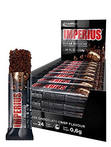 IronMaxx Imperius Sugar Reduced - Dark Chocolate Crisp – Low Carb Protein Riegel mit 36{e92bfe2dd43f0cf8303431dc2e404253dda458480302c10a0926372010122ead} Eiweiß & wertvollen Vitaminen & Mineralstoffen – Eiweißriegel gegen den Heißhunger, 24 x 45 g (1.08 kg) im Tray