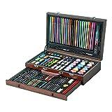Lápices de dibujo de arte multicolor Suministros de 130 piezas para pintar y dibujar Kit de arte en caja de madera Incluye pinturas de acuarela Pasteles al óleo Lápices de colores Paquete para colorea
