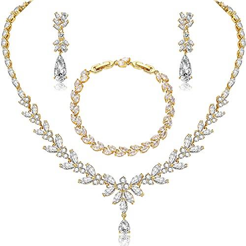 CERSLIMO Juego de joyas de plata 925, oro rosa, joyas nupciales para boda, juego de cadena y pendientes de circonita 5A, juego de joyas para novia con caja de regalo para mujer, Plata
