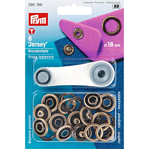 Nähfrei Jersey Ring Druckknöpfe 18 mm altmessing