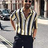 Men's Shirts Shirts Fashion Turn-Down Collar Short-Sleeved Shirt Striped Men Casual Shirts Beach Clothes For Men M Yellow