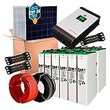 Kit Solar 24V 1.000W / 5.000W Día + 4 Paneles + 12 Baterías TOPzS 458Ah + Inversor Multifunción 3kva con Regulador MPPT 60A