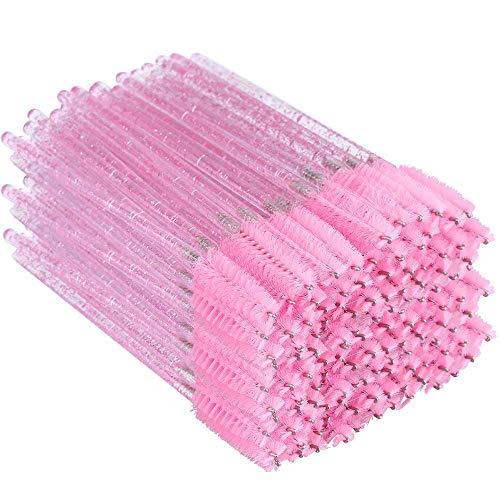 G2PLUS 300 Stück Rosa Einweg Wimpernbürste Kristall, Wimpernbürstchen Wimpern-Applikator Bürste für Mascara, Wimpernverlängerung
