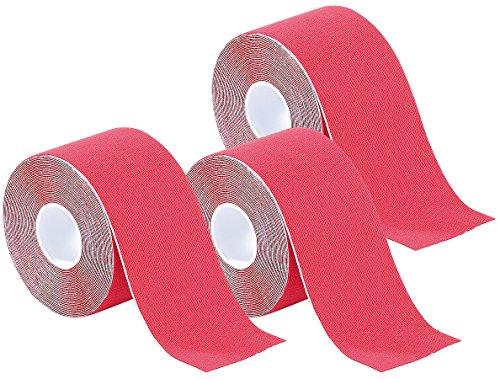 newgen medicals Tapeverbände: Kinesiologie-Tape aus Baumwollgewebe, 3er-Set, rot (Klebeband für Taping)