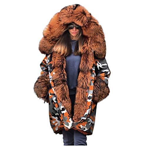 DNOQN Mantel Parka Hoodie Oversize Kurzmantel Damen Fuzzy Fur Tarnen Winter Warm Kapuzenpullover Jacke Mantel Winddicht Outwear
