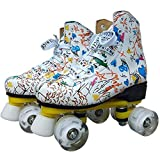 Graffiti Microfibra Roller Patines Doble Línea Patines Mujeres Hombres Adulto Dos Línea Skating Shoes Patines con PU 4 Ruedas Mengheyuan (Color : White, Size : 43)