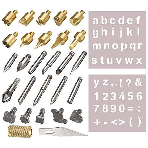 Starnearby 28pcs Pirografo Legno punte per penna per bruciare il legno dello strumento pirografico per intaglio del saldatore elettrico