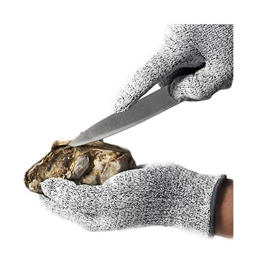 HYCOPROT Arbeitshandschuhe Schnittschutzhandschuhe Arbeitsschutz Küchenhandschuh Lebensmittelecht Digital High Performance Level 5 Protection (L, Grau Rand)