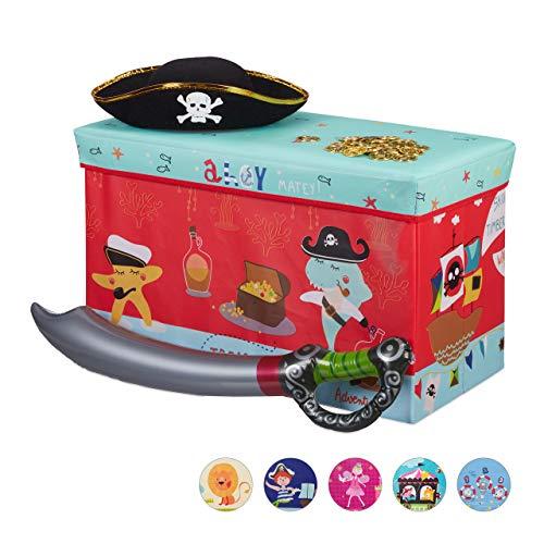 Relaxdays Sitzbox Kinder, Faltbare Aufbewahrungsbox mit Stauraum, Deckel, Piratenmotiv, Jungen & Mädchen, 50 Liter, rot