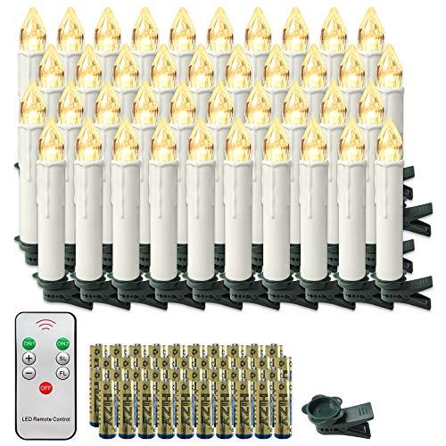 Froadp LED Kerzen mit Fernbedienung und Batterien Warmweiß LED Weihnachtskerzen Weinachten für Weihnachtsbaum, Weihnachtsdeko, Hochzeitsdeko (40er mit Batterien)