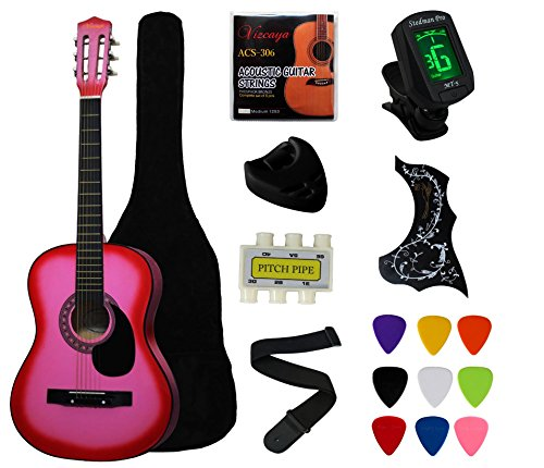"YMC 38"" Pink Beginner Acoustic Guitar Starter Package Student Guitar with Gig Bag,Strap, 3 Thickness 9 picks,2 Pickguards, Pick Holder, Extra Strings, Electronic Tuner -Pink"