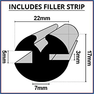 Claytonriet Rubber venster beglazing afdichting | 5mm x 3mm | Inclusief vulstrip | Gebruikt op auto's, boten, caravans en ...