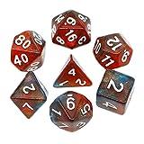 HD DICE DND RPG - Juego de dados poliedricos para Dungeons y Dragones D & D Pathfinder, juego de rol de colores naranja, rojo y azul, dados con purpurina que cambia de color