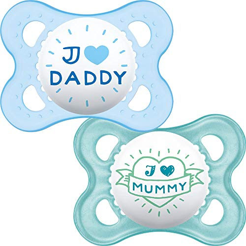 MAM Style - 2 x Schnuller 'I Love Mummy & I Love Daddy' 0m+ (Blau)