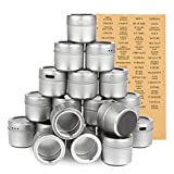 Magnetic Spice Containers, 3.4 Oz Spice Tins with Clear Lid (94 Labels, 20 Jars)