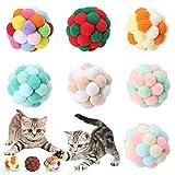 Ksopsdey 7 Piezas Pelotas para Gatos Coloridos Pompones juguetes para gatos Pelota elástica Balls con Campana Bolas de Peluche Mullidas para Juguete Interactivo del Entrenamiento para Gato Gatito