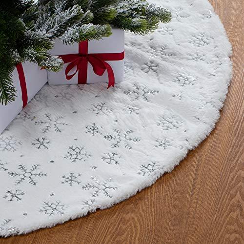 GMOEGEFT 121,9 cm Weihnachtsbaum-Rock, Weihnachtsbaum-Dekoration Weiße Pailletten