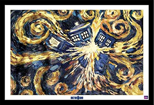 Doctor Who - Exploding Tardis - Film Poster Doctor Who Science-Fiction-Fernsehserie - Grösse 91,5x61 cm + Wechselrahmen, Shinsuke® Maxi MDF schwarz, Acryl-Scheibe