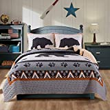Soul & Lane Great Grizzly Bedding Quilt Set - Queen with 2 Shams   Cabin Lodge Quilted Bedspread   Country Quilt