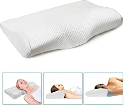 Memory Foam Bed Cervical Pillow with Washable Cover White Contour Ergonomic Design for Neck Pain Support Back and Side Sleepers White