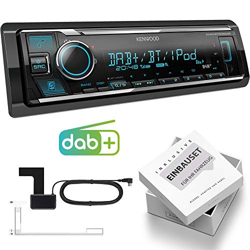 Kenwood KMM-BT505DAB 1-DIN autoradio Shortbody incl. DAB-antenne met Bluetooth USB geschikt voor VW Polo 6R, ohne Canbus, Piano Black